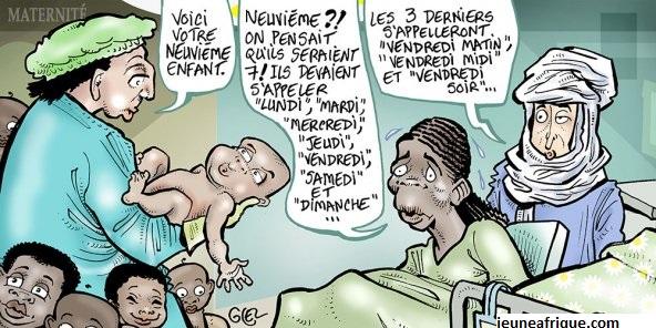 Caricature de l'accouchement d'Halima Cissé, la jeune malienne qui a accouché de neuf bébés au Maroc.
